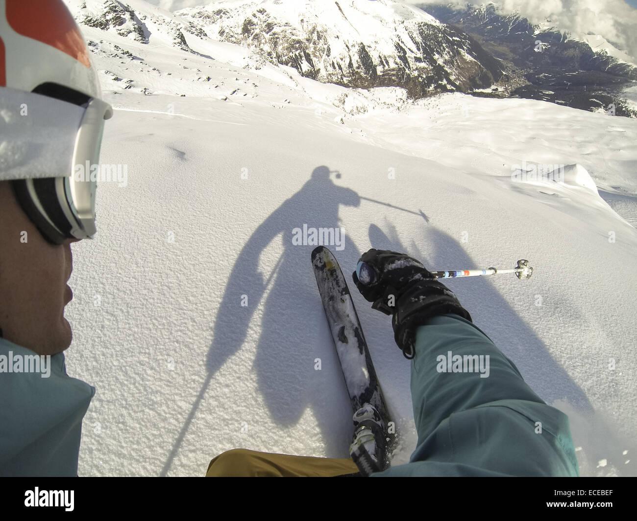 Austria, Salzburg, Gastein, Downhill skiing Stock Photo
