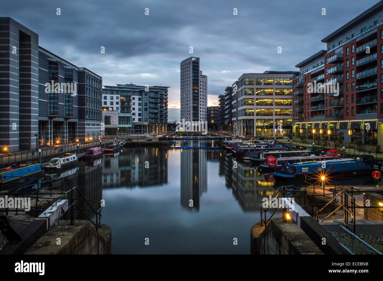 Clarence dock at dusk, Leeds, England, UK - Stock Image
