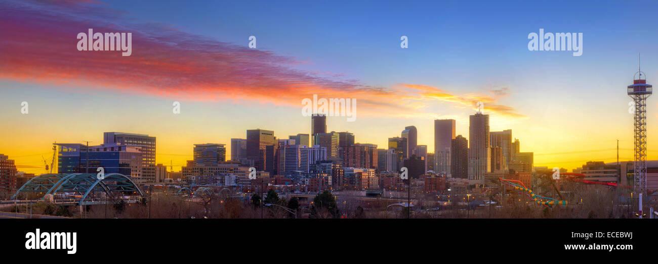 USA, Colorado, Denver, Downtown skyline at sunrise - Stock Image