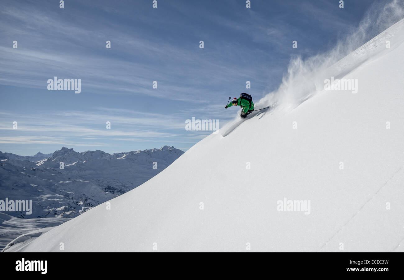 Austria, Freeride skier downhill skiing Stock Photo
