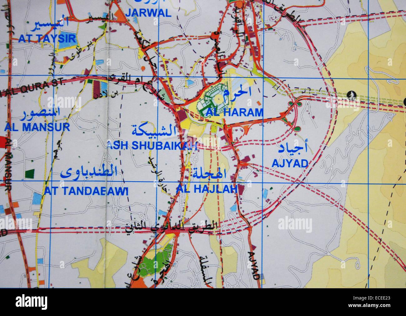 Mecca map and Masjidil Haram in Kingdom of Saudi Arabia - Stock Image