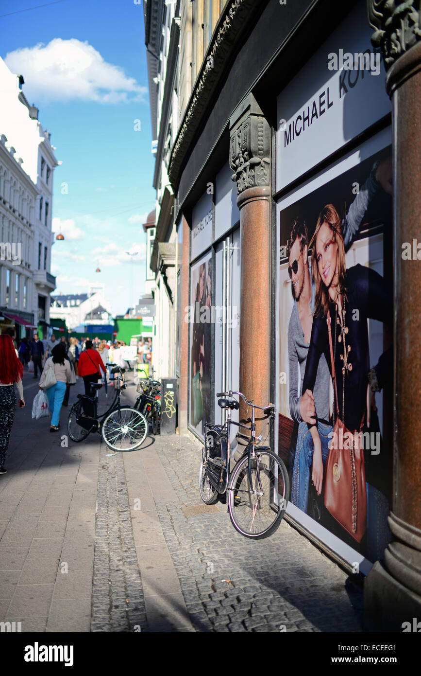 Strøget street, Copenhagen's aorta and one of Europe's longest pedestrian streets with a wealth of - Stock Image