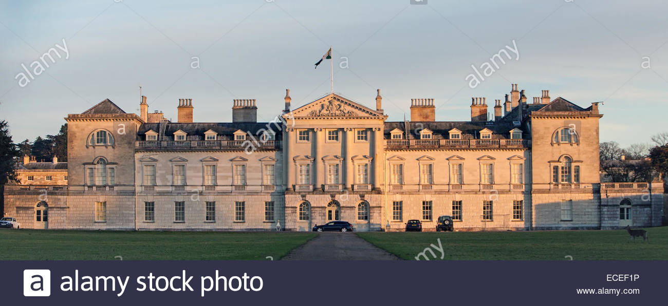 Woburn Abbey in Woburn, Bedfordshire, England, the family seat of the Duke of Bedford. - Stock Image