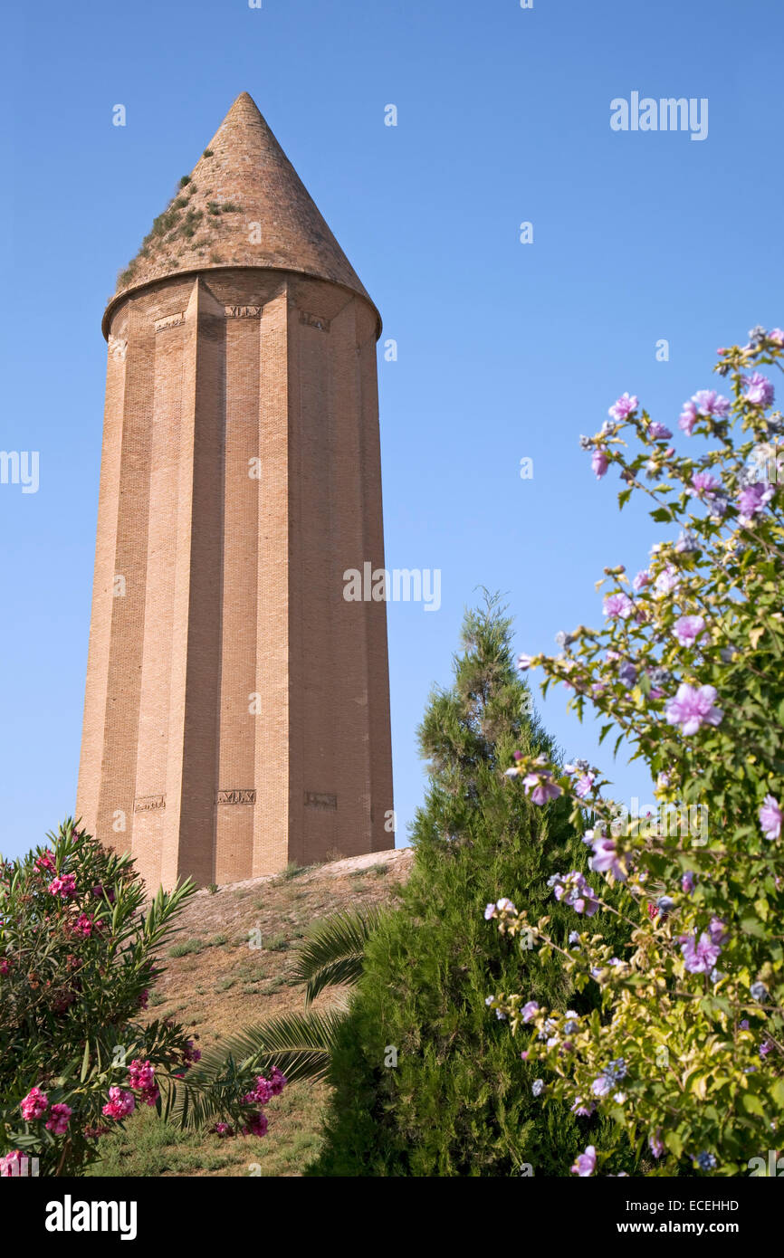 The tower of Kavus, remnant of Ziyarid architecture in Gonbad-e Kavus / Gonbad, Golestan Province, Iran - Stock Image