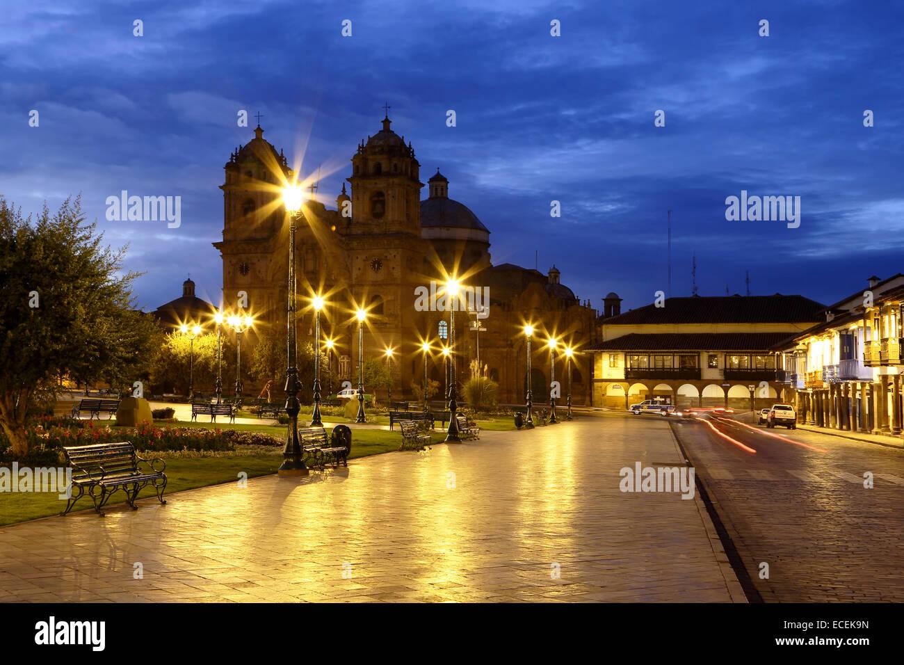La Compania de Jesus (The Company of Jesus) Church on the Plaza de Armas, Cusco, Peru - Stock Image