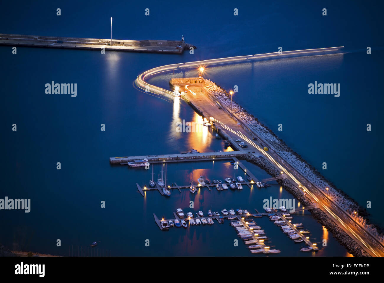 The harbor in Porto Santo, Madeira islands, Portugal, night view - Stock Image