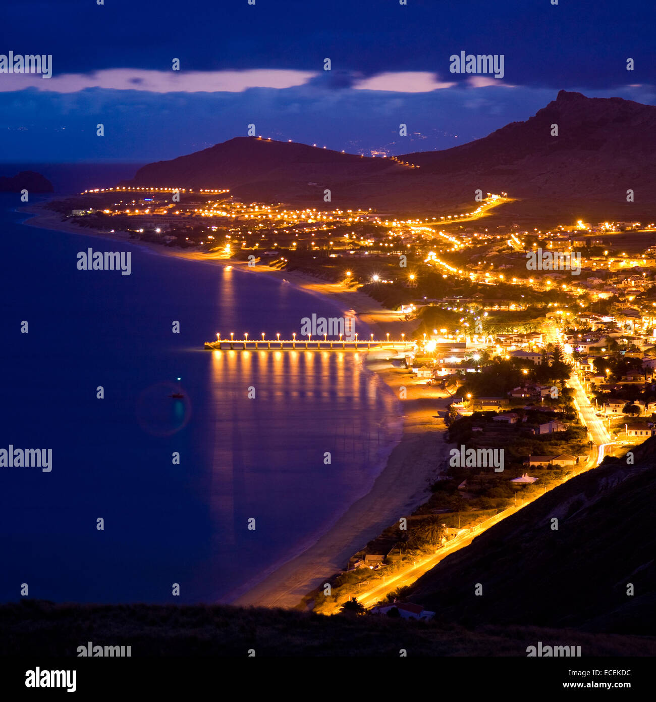 Night landscape of Porto Santo, Madeira Islands, Portugal - Stock Image
