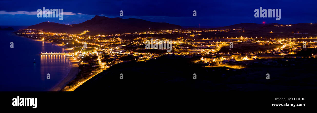 Night panoramic view of Porto Santo, Madeira Islands, Portugal - Stock Image
