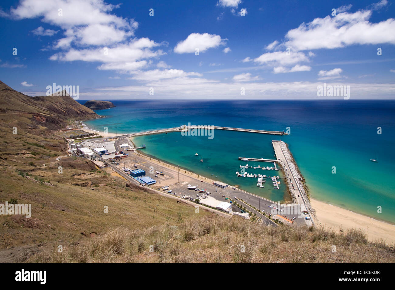 The harbor in Porto Santo, Madeira, Portugal - Stock Image