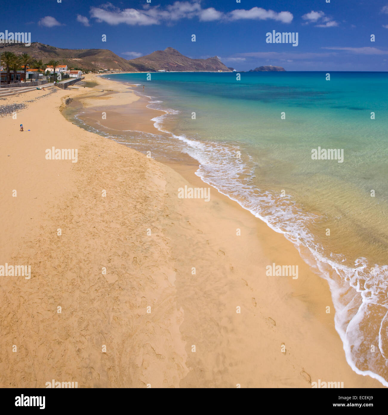 Porto Santo beach, aerial view, Madeira islands - Stock Image