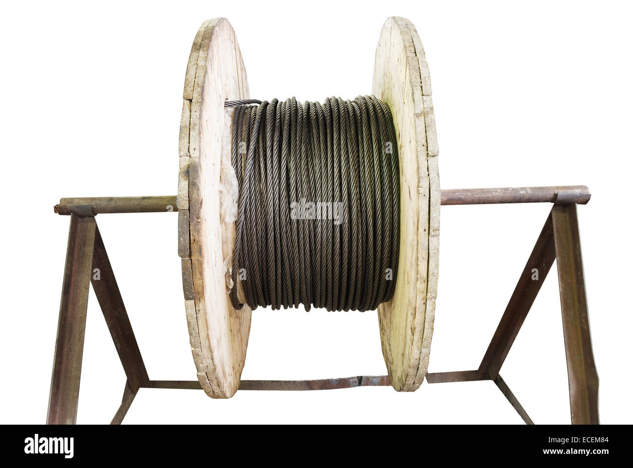 industrial wooden reel with steel rope isolated on white background ...