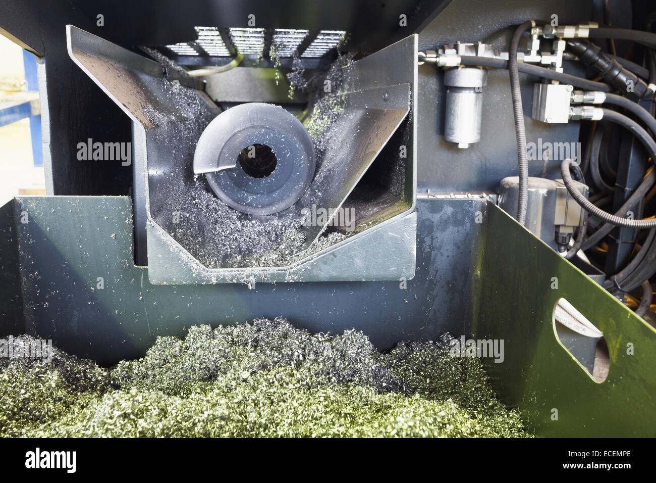 auger and metal turnings from lathe machine close up - Stock Image
