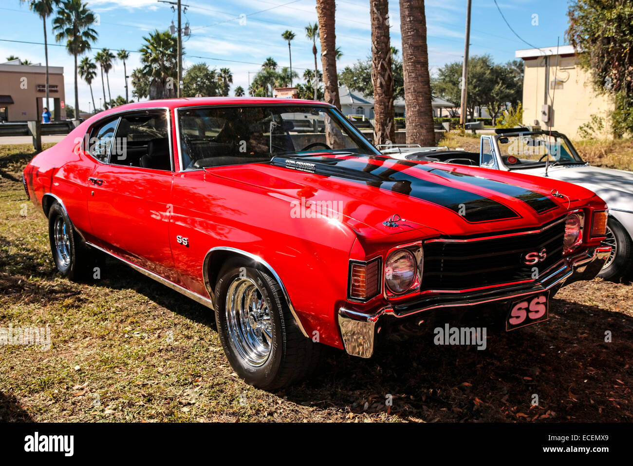 1974 Red Chevy Nova Ss Muscle Car On Display At A Vintage Vehicle