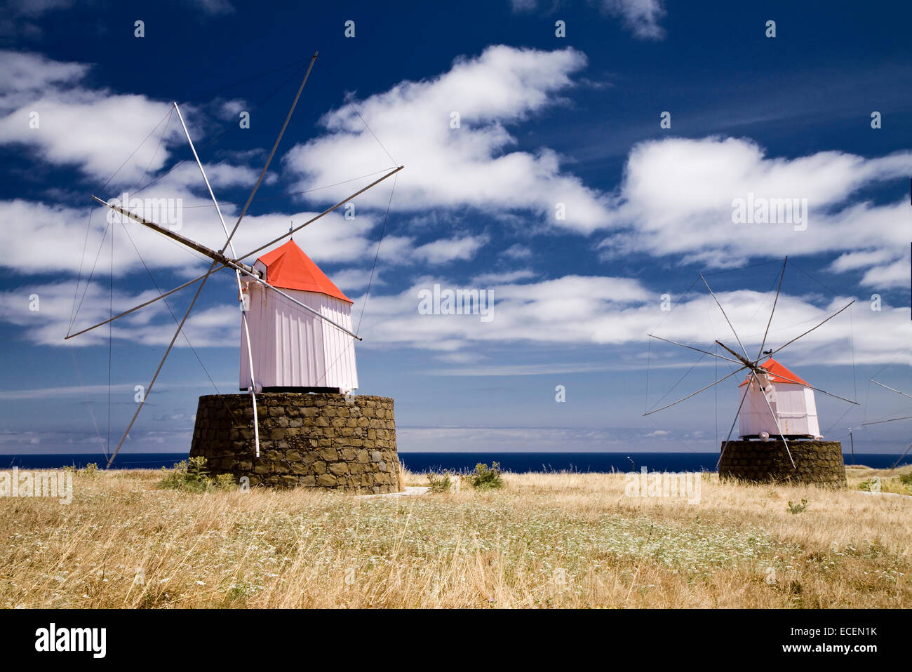 Two old windmills on the Portuguese island of Porto Santo - Stock Image
