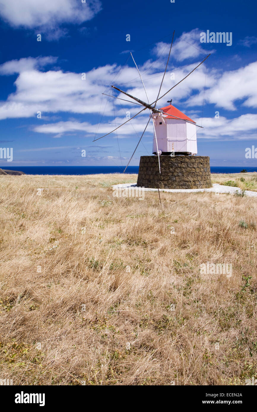 Old windmill on the Portuguese island of Porto Santo - Stock Image