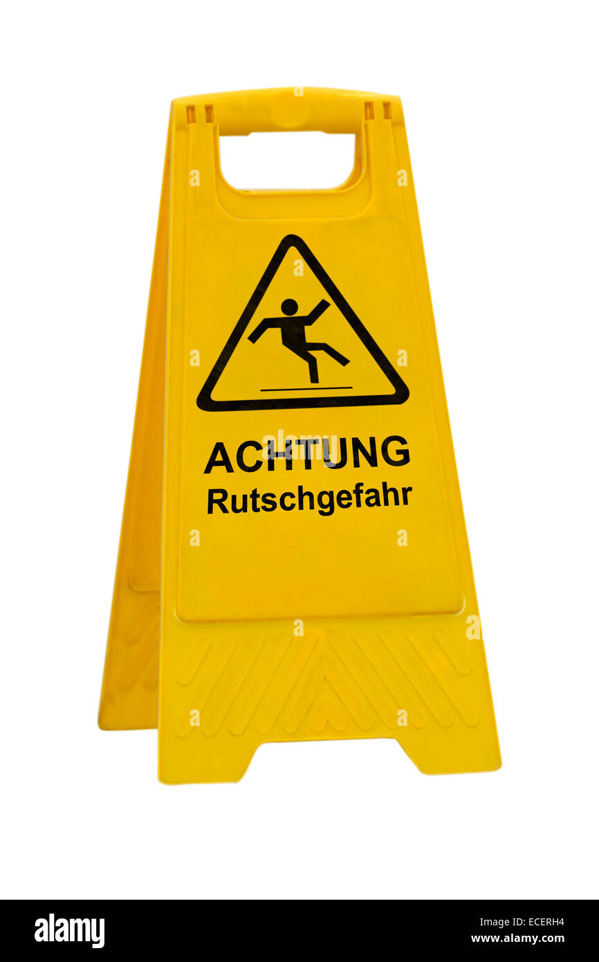 Yellow Achtung Rutschgefahr (German Caution slippery wet floor) sign isolated on white background - Stock Image