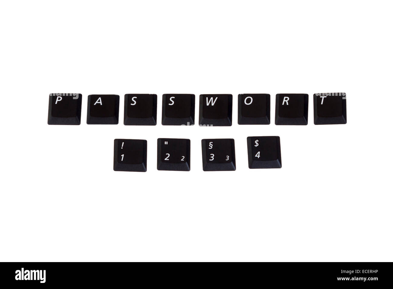 Password 1234 as verry poppular and unsafe password written with single computer keys isolated on white background - Stock Image