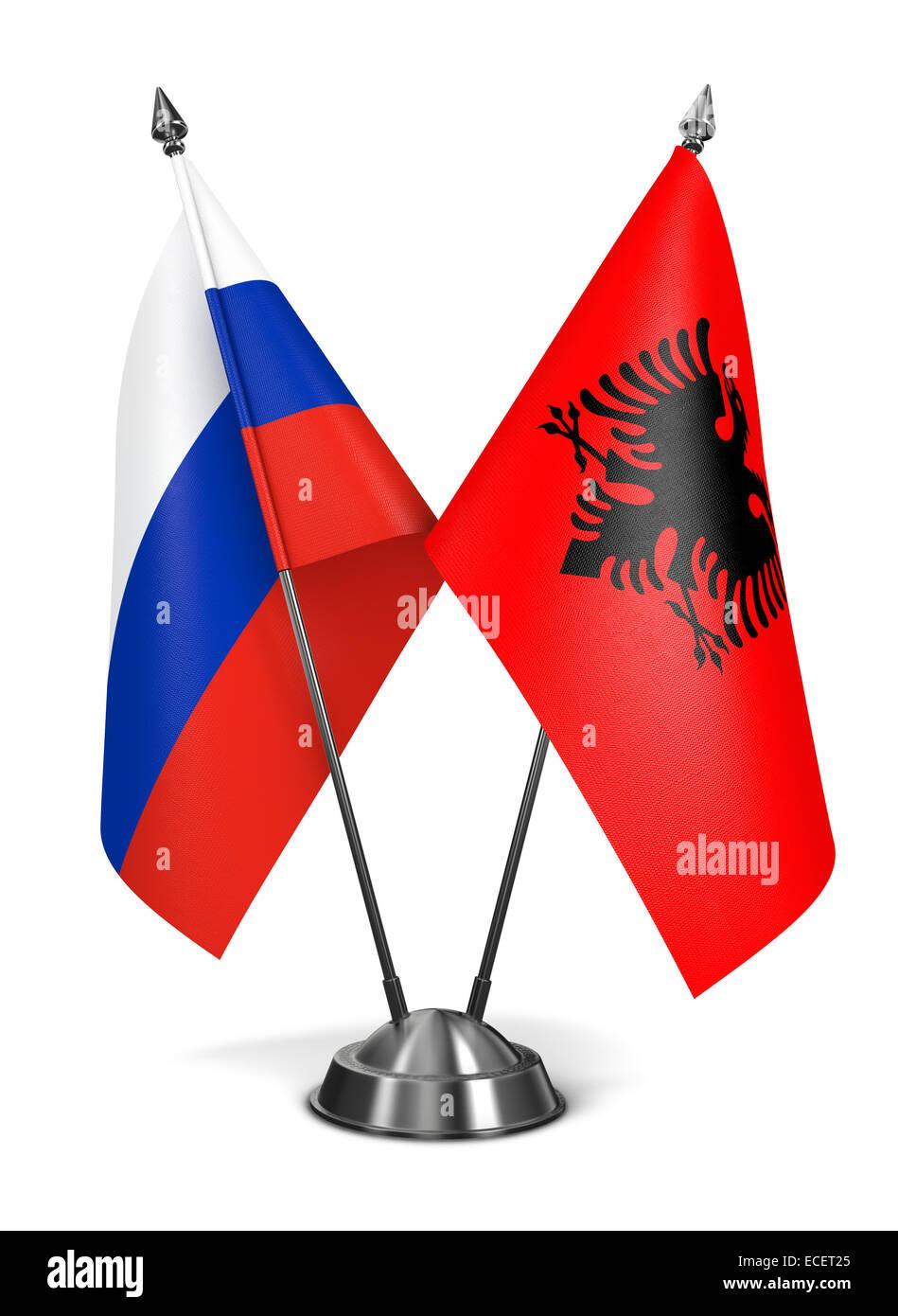 Albania and Russia - Miniature Flags. - Stock Image