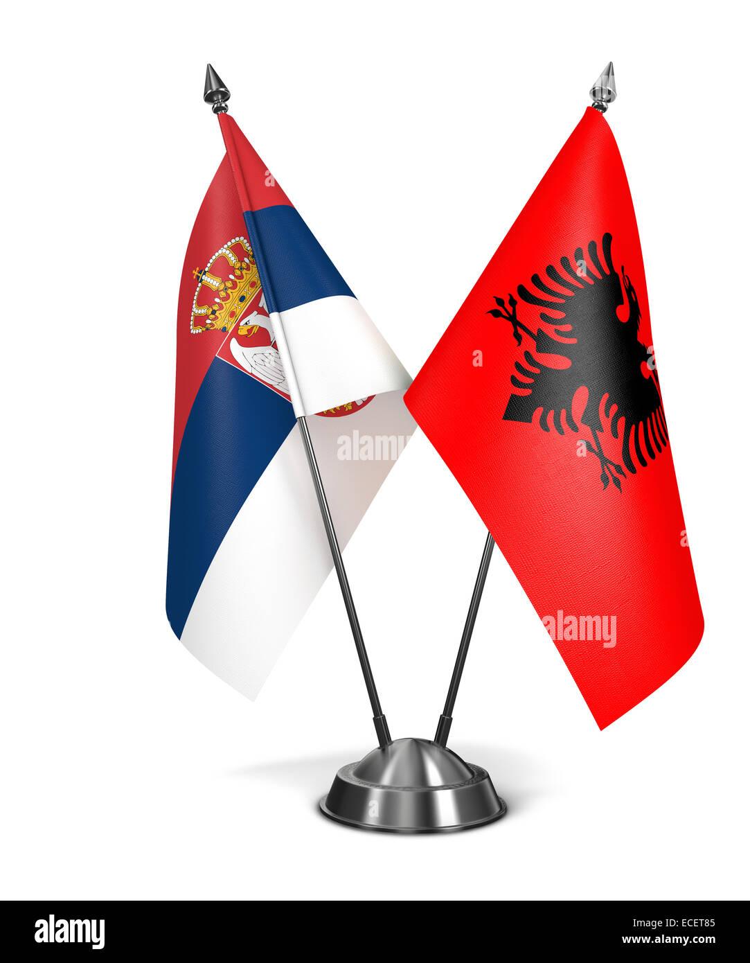 Albania and Serbia - Miniature Flags. - Stock Image