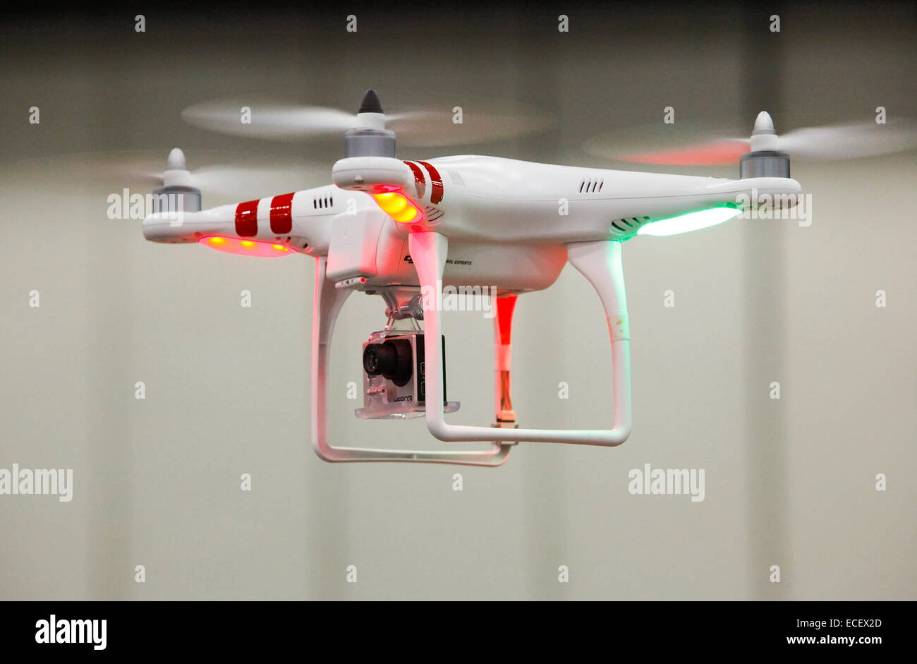 Detroit, Michigan - An unmanned aerial vehicle (drone), equipped with a camera. - Stock Image