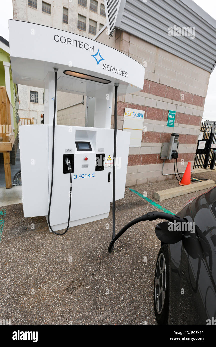 Detroit, Michigan - An electric vehicle DC fast charger on display during the Intelligent Transport Systems World - Stock Image