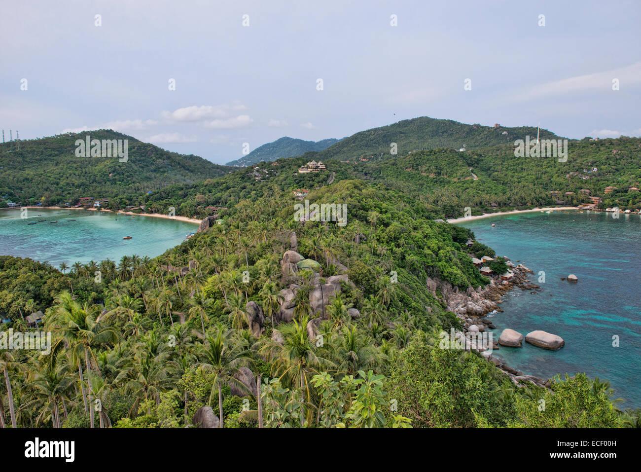 birdseye view of Chalok Baan Khao and Ao Thian Ok bays from the John Suwan viewpoint, Koh Tao, Thailand - Stock Image