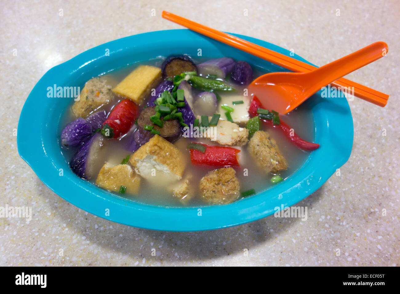 Spicy Chinese Vegetable And Fish Soup Called Yong Tau Foo Stock
