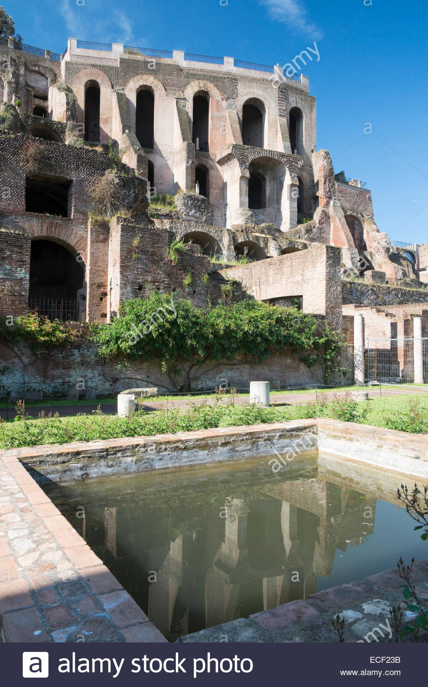 Palatino Reflected in Pool of Water at Foro Romano, Rome, Italy - Stock Image