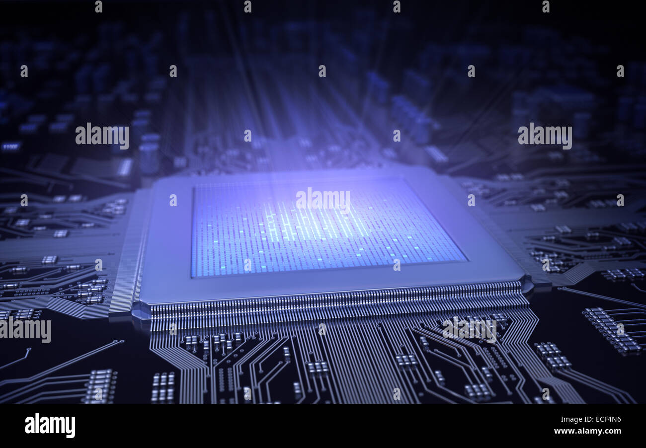 Light in the computer chip. - Stock Image