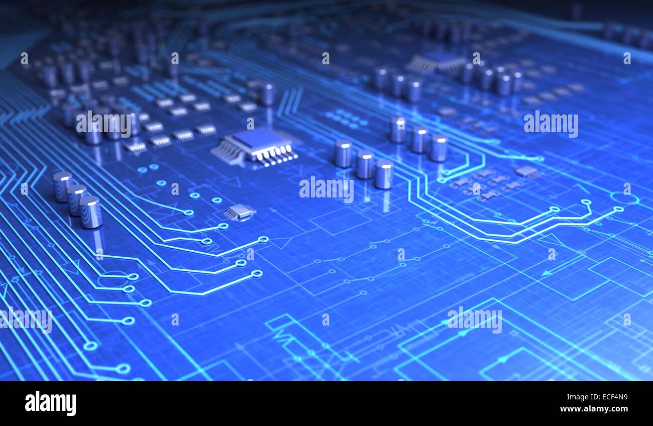 Circuit board and electronic symbols Stock Photo: 76550357 - Alamy
