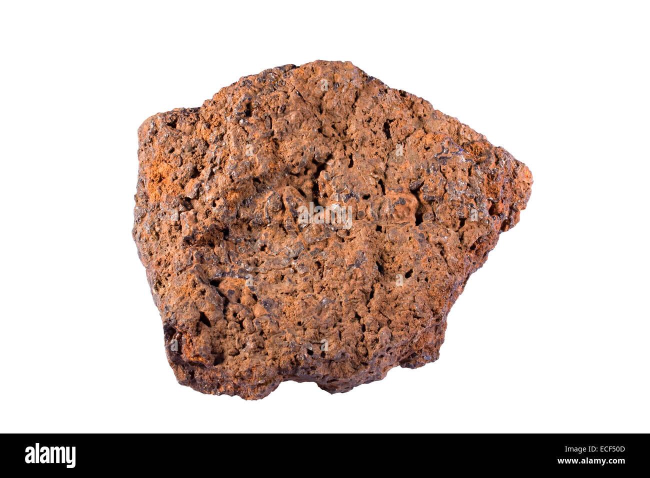 Bog iron (composed of minerals goethite and hematite) - Stock Image