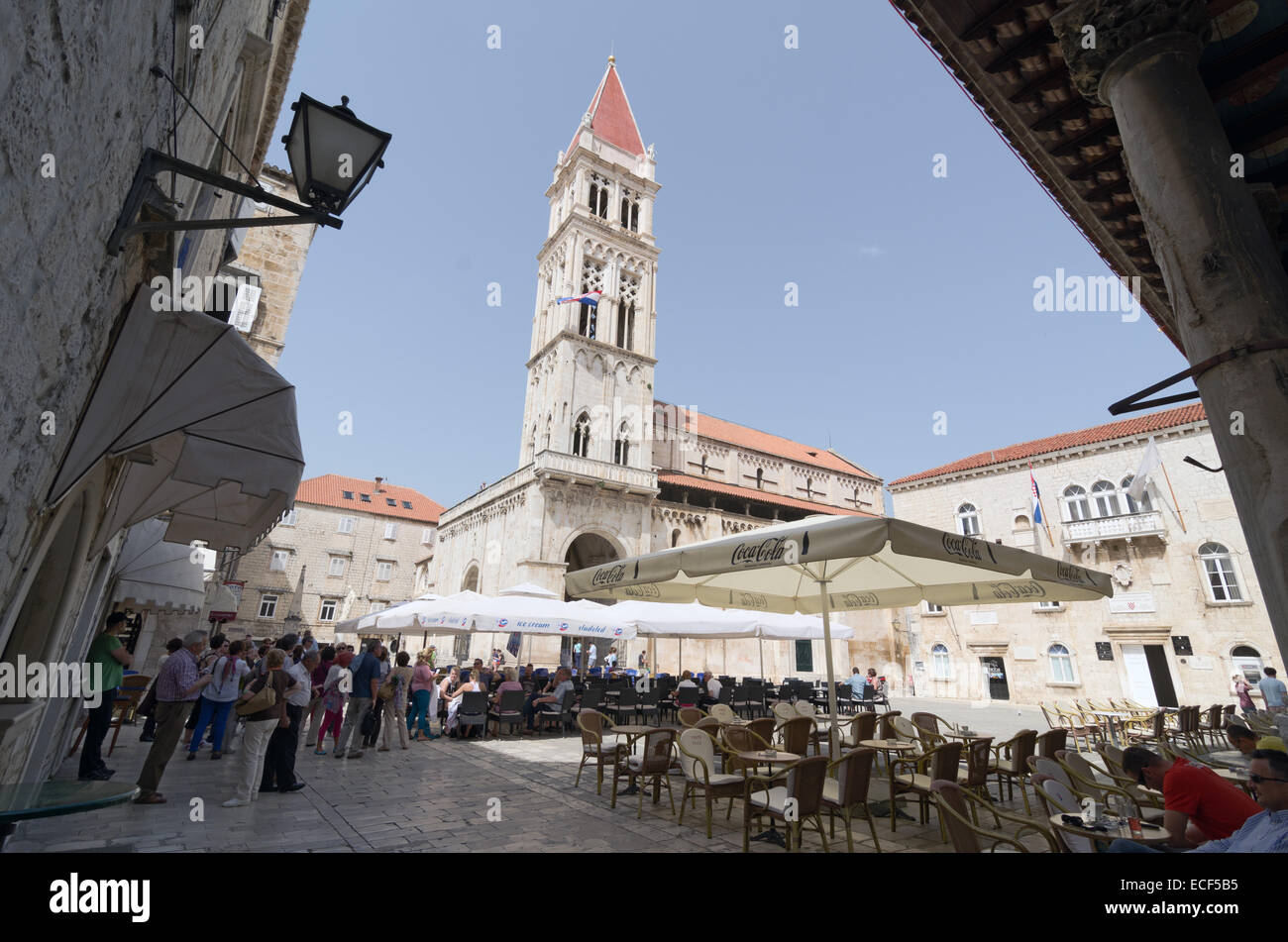 TROGIR, CROATIA - MAY 19, 2013: people are taking a brake in one of the street cafe in Trogir. On May 19, 2013, - Stock Image