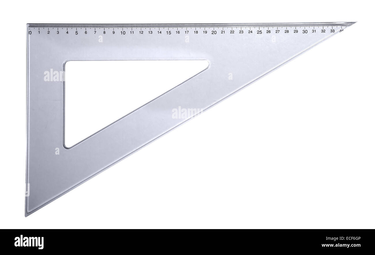 Plastic rulers for mathematics in school and homework - Stock Image