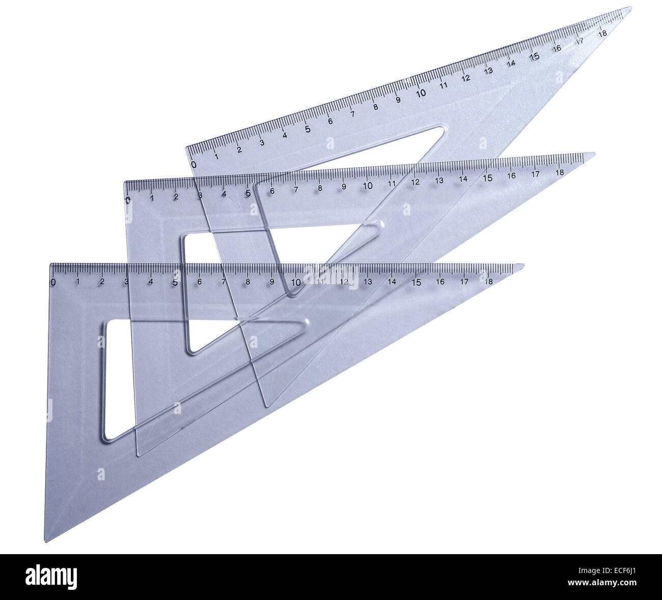 Metric transparetn plastic triangle isolated with clipping path (w/o shadow). Very high resolution and lot of details. - Stock Image