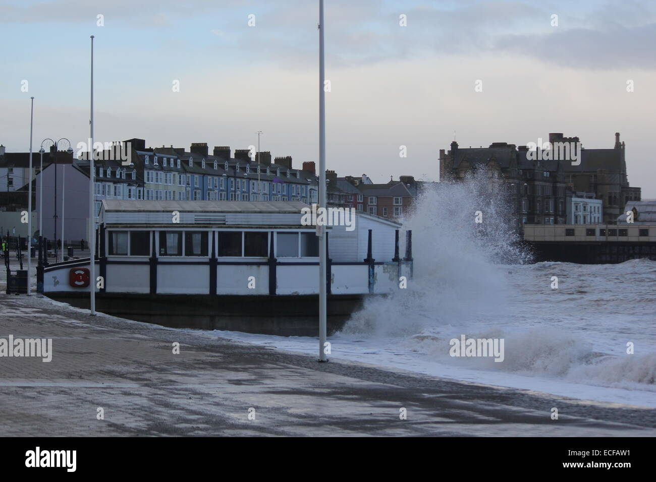 Severe winter gales continue to batter Aberystwyth on the west coast of Wales UK - Stock Image
