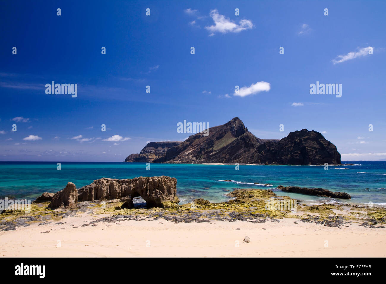 Ilheu da Cal island, Porto Santo, Madeira, Portugal Stock Photo