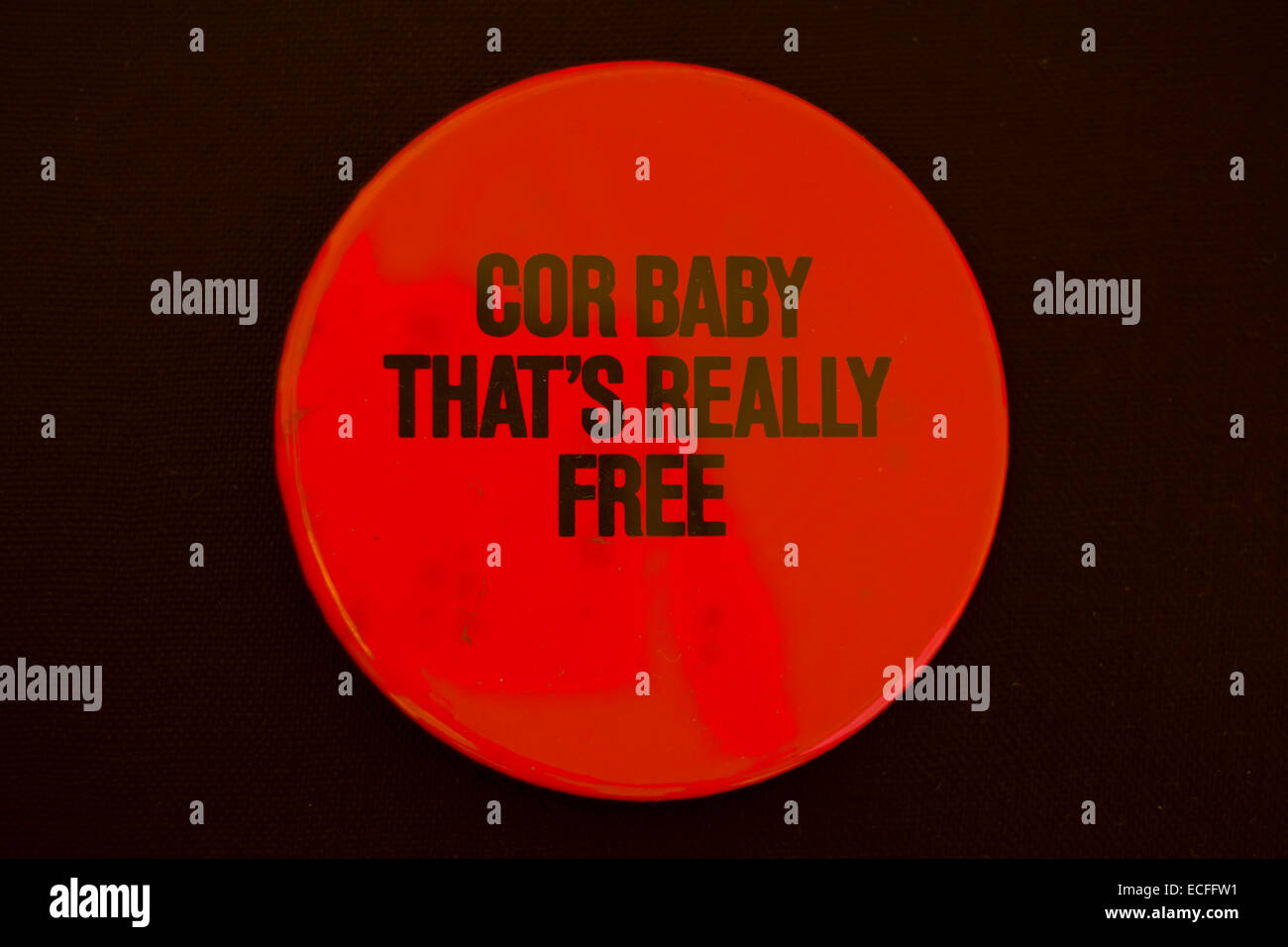 cor baby that's really free, lapel badge promoting a 1977 single by singer john otway - Stock Image