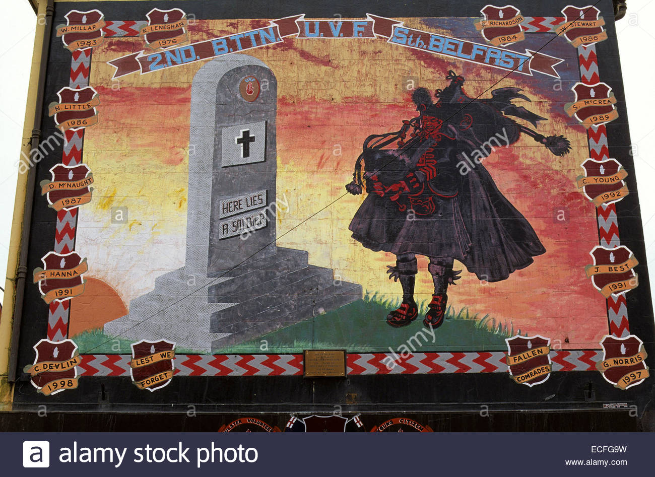 Northern Ireland, Belfast, painted wall in catholic area - Stock Image