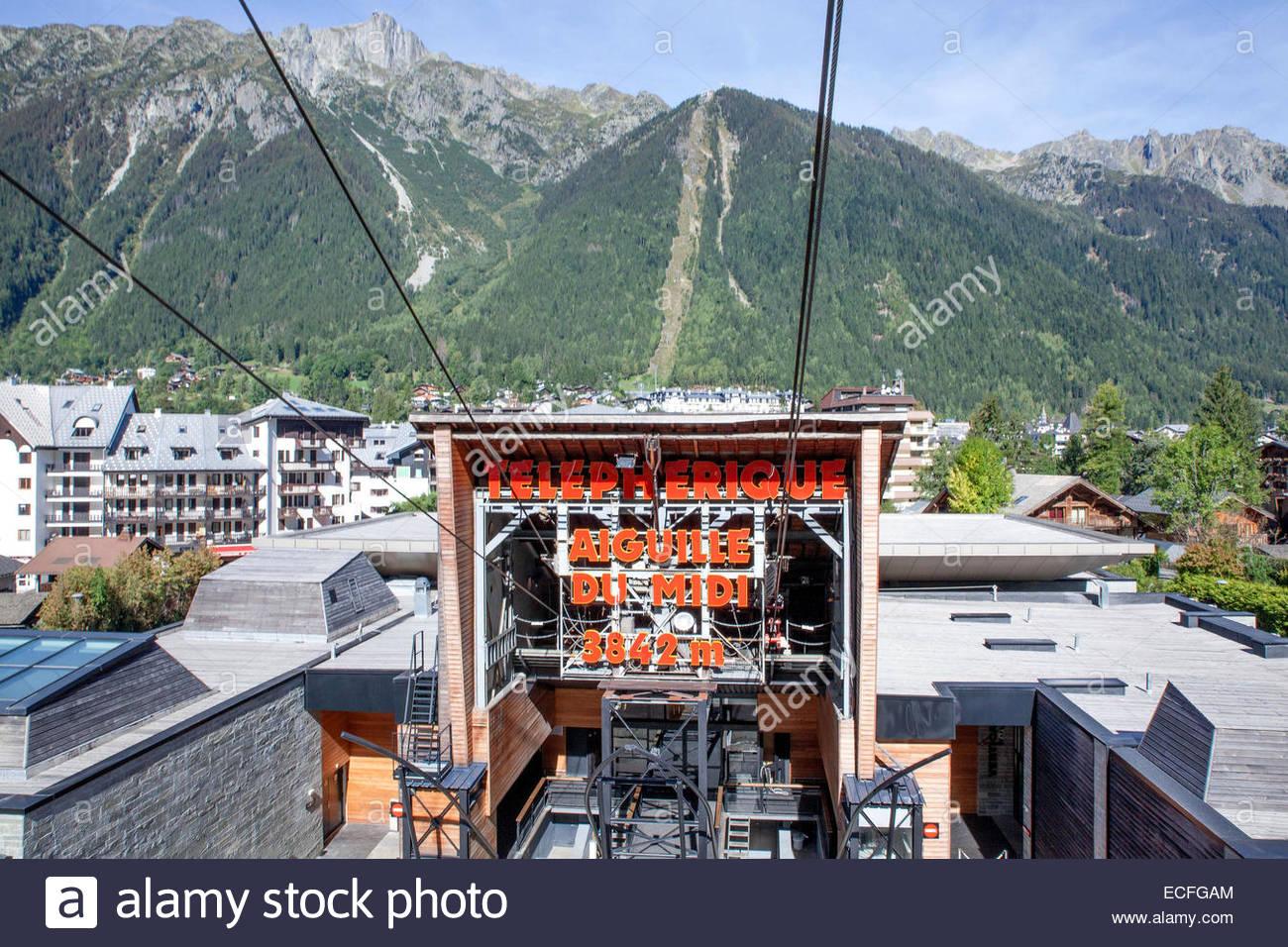 Chamonix. Cabble car station to Aiguille du Midi - Stock Image