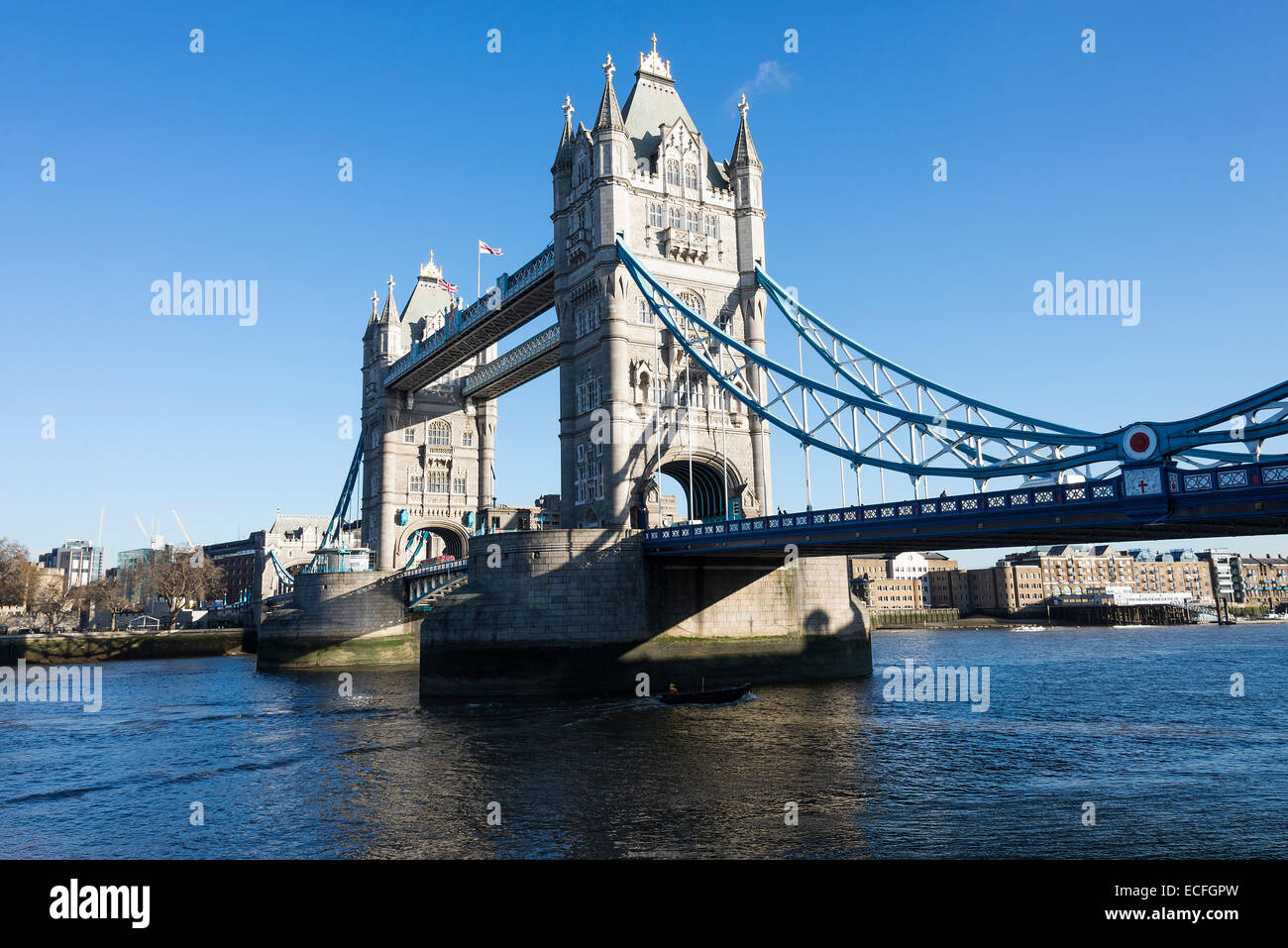 The Famous Tower Bridge Spanning River Thames Between Hamlets And Southwark In London England United Kingdom UK