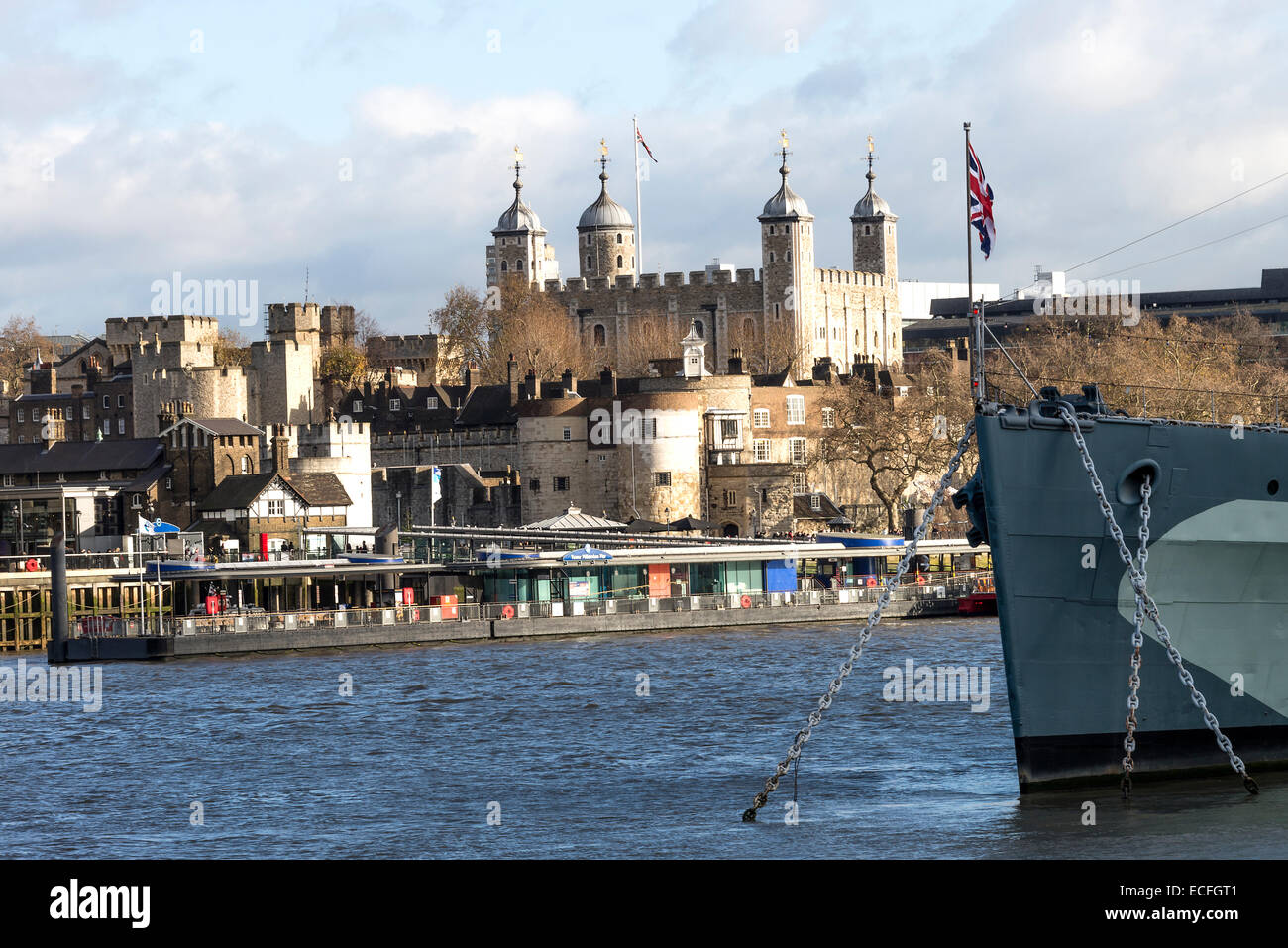 The Former Royal Navy Cruiser HMS Belfast Berthed in the River Thames with the Tower of London England United Kingdom Stock Photo