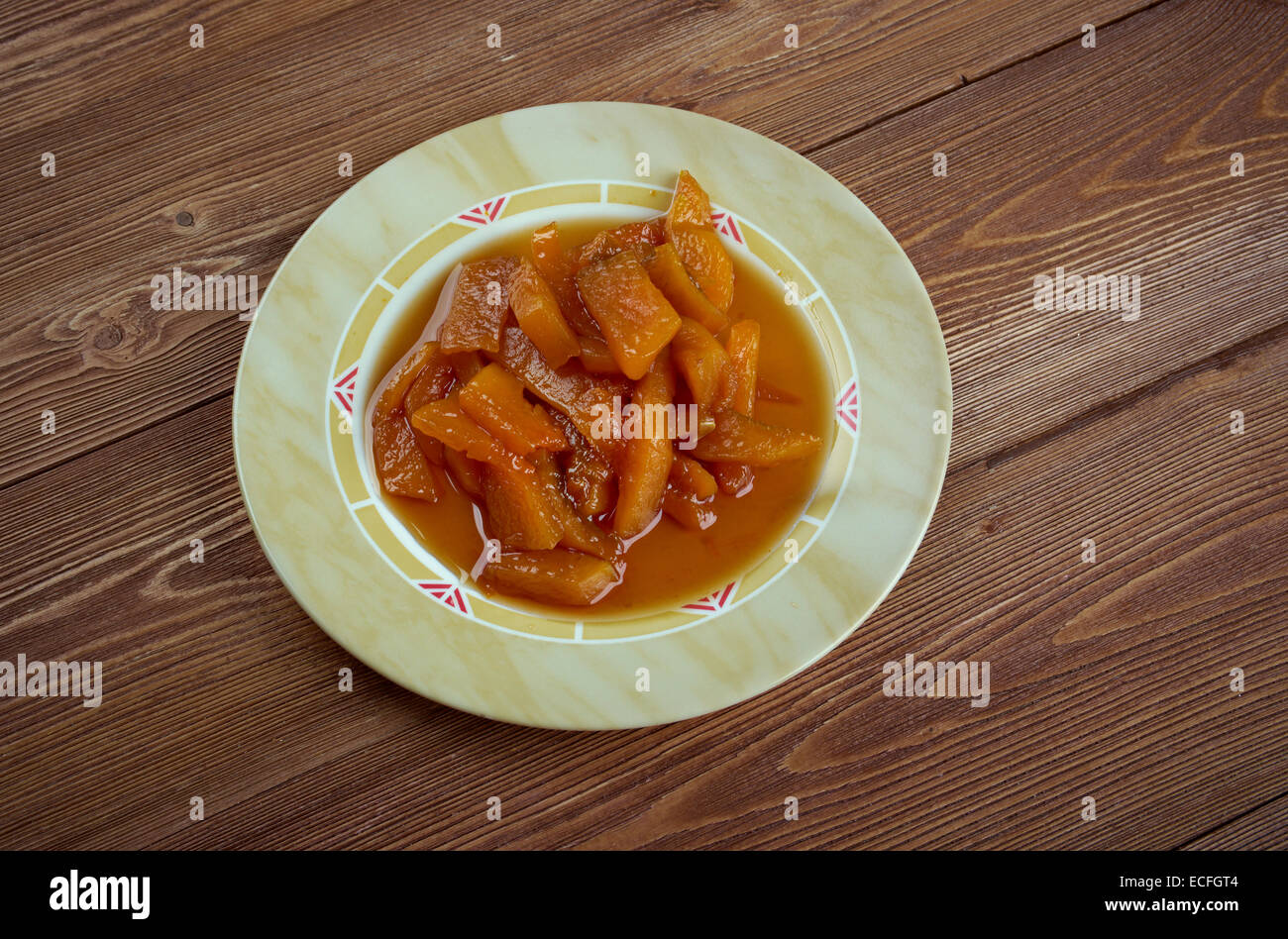 Calabaza con azucar moreno - Mexican dish of pumpkin and brown sugar - Stock Image