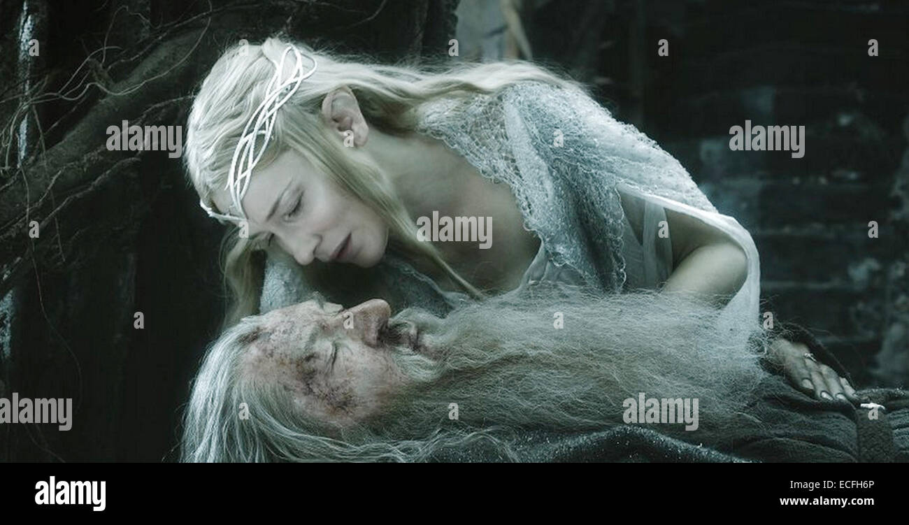 THE HOBBIT : THE BATTLE OF THE FIVE ARMIES  2014 MGM film with Cate Blanchett and Ian McKellen - Stock Image