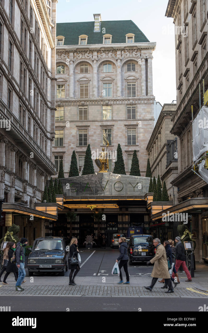 The Front Entrance to The Savoy Hotel The Strand City of Westminster London England United Kingdom UK - Stock Image