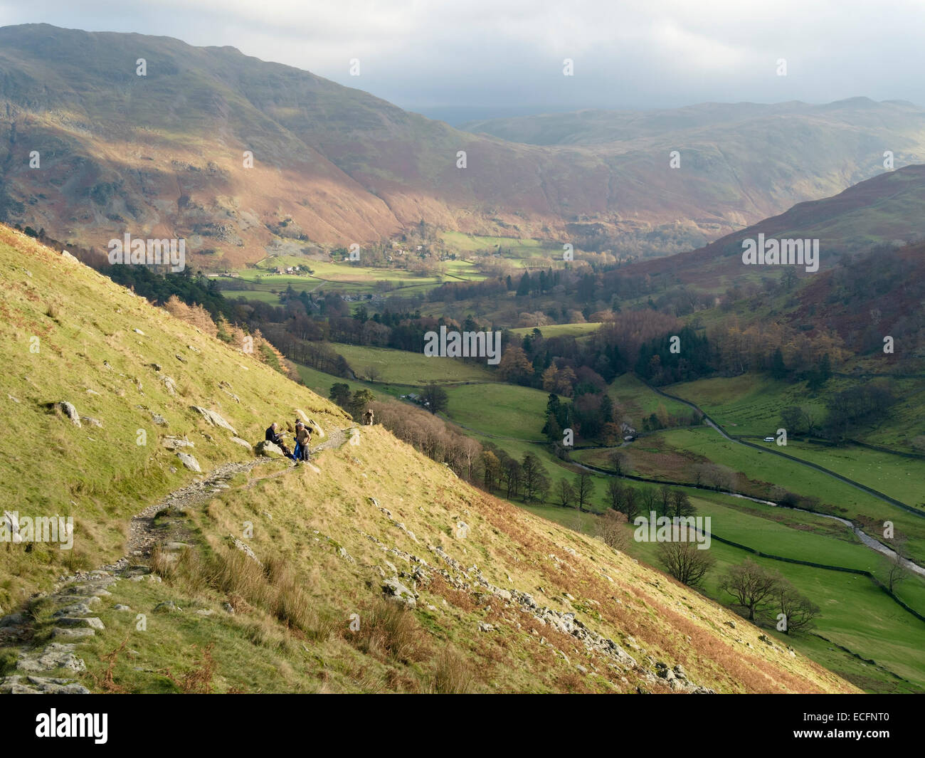 Hill walkers on path on slopes of Grisedale valley, Patterdale, Lake District, Cumbria, England, UK - Stock Image