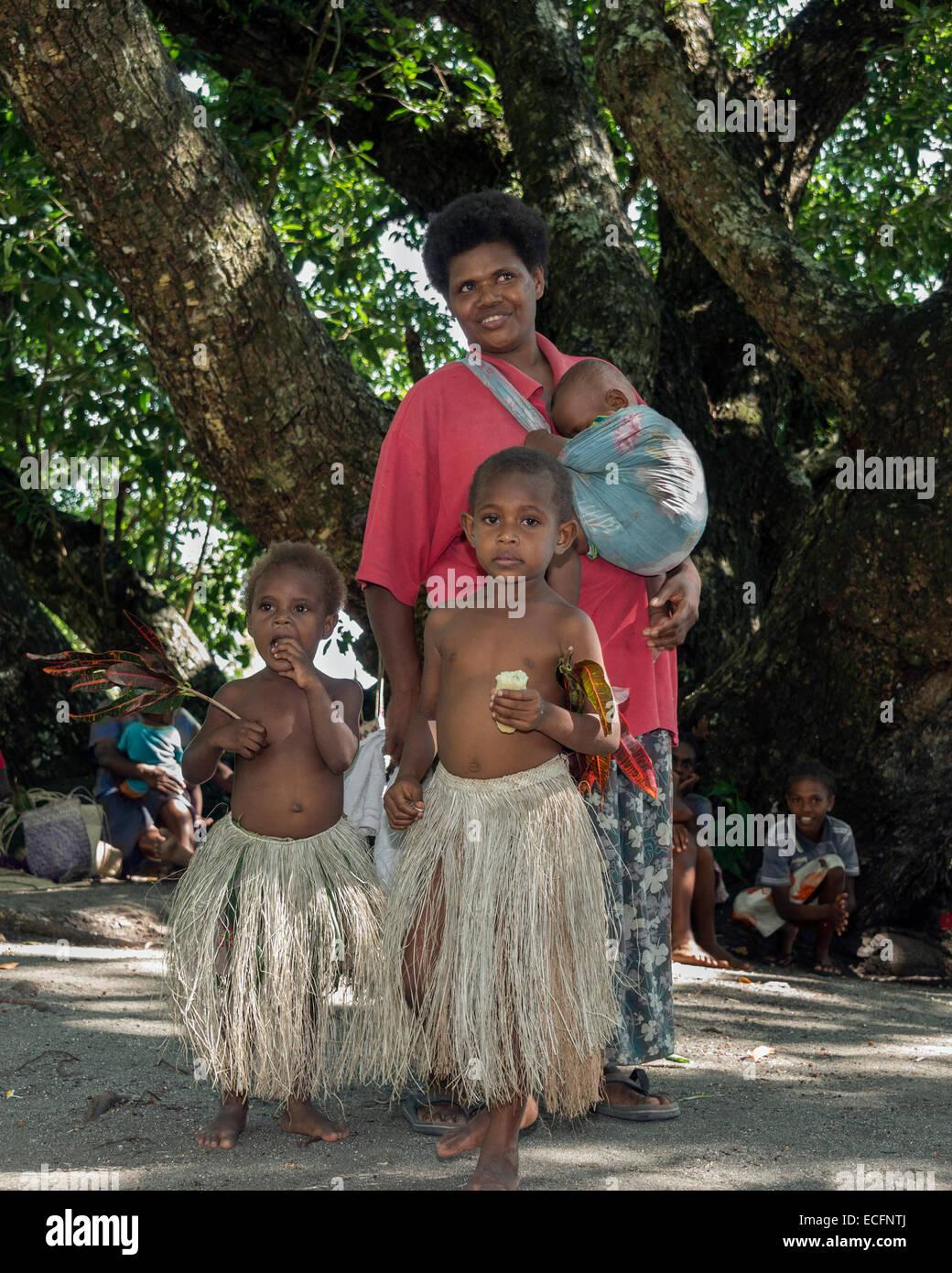 Woman and her children, Pentecost Island, Vanuatu Stock Photo