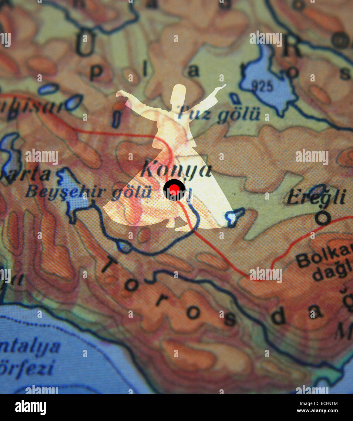 Konya city on map and whirling dervish in Turkey - Stock Image