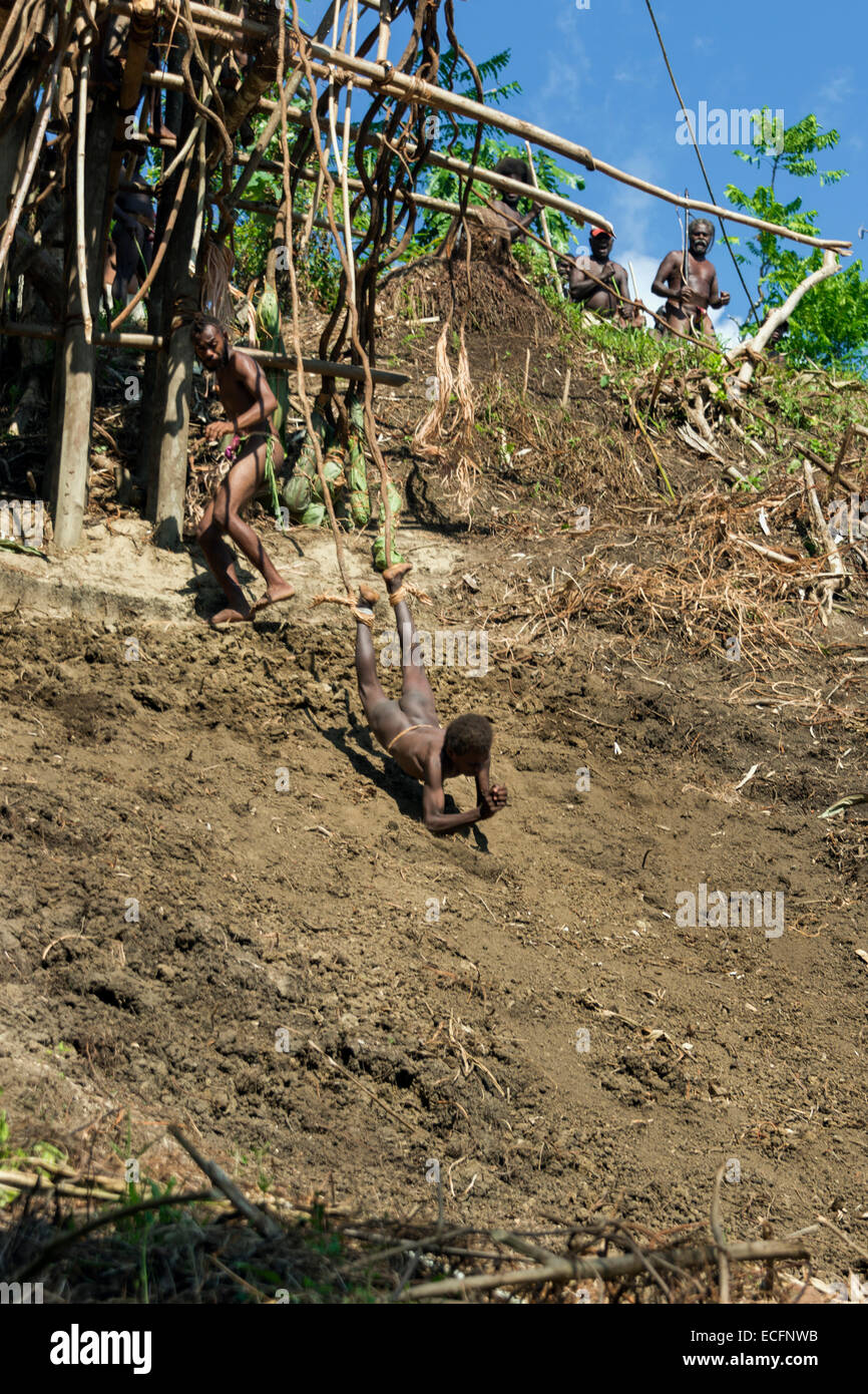 Young boy on his first land dive #9, Pentecost Island, Vanuatu - Stock Image