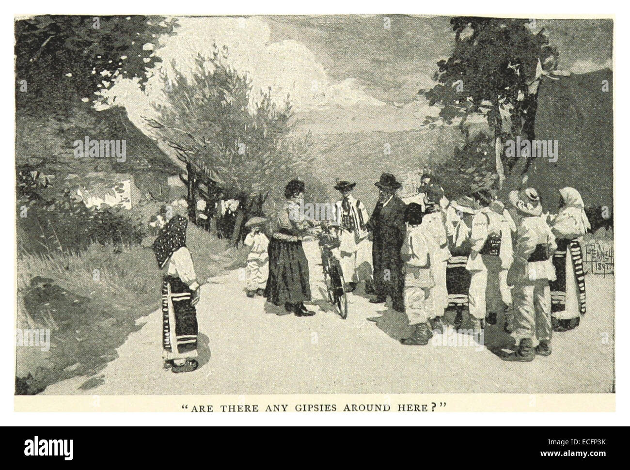 PENNELL(1893) p169 - ARE THERE ANY GIPSIES AROUND HERE - Stock Image