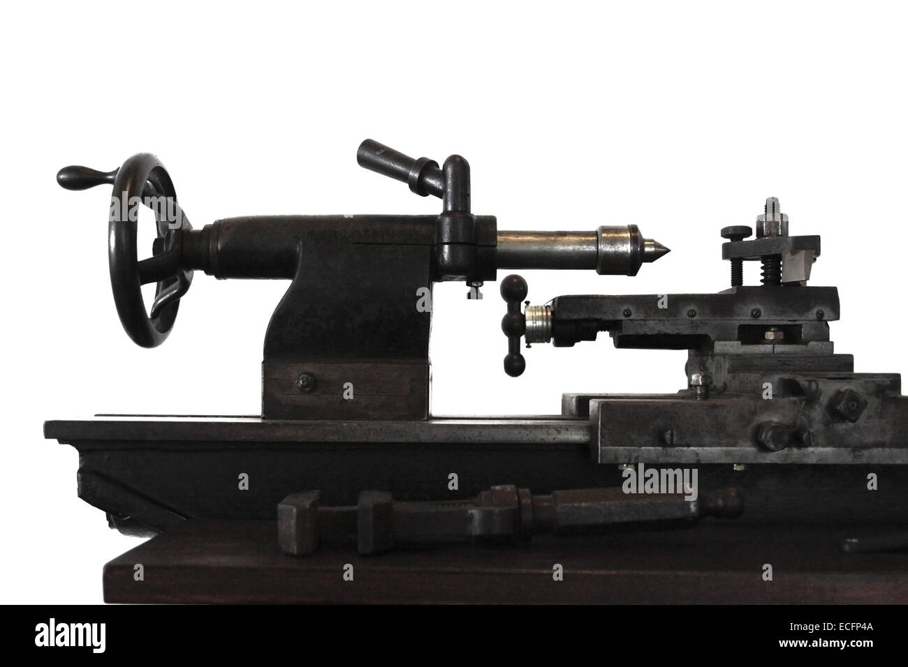 Isolated tailstock of a metalworking lathe, early 20th century - Stock Image